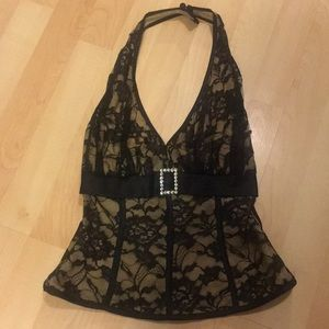 Cache Tops - Cache black lace halter size small